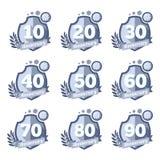 Vector anniversary emblems set. Celebration icons Royalty Free Stock Photos