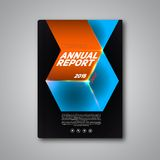 Vector Annual report 2015. Book or brochure, Modern design template, dark cube background Stock Image