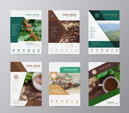 Vector annual report brochure flyer design coffee beans background. Annual report brochure flyer design template vector, Set of leaflet cover presentation shop Stock Image