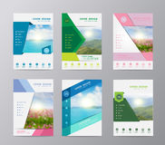 Vector annual report brochure flyer design nature landscape background. Annual report brochure flyer design template vector, Set of leaflet cover presentation Royalty Free Stock Images