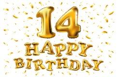 Vector 14 anos de aniversário, celebração da alegria do feliz aniversario ilustração 3d com os balões brilhantes do ouro & confet Fotografia de Stock