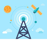 Vector antenna tower and satellite Royalty Free Stock Image