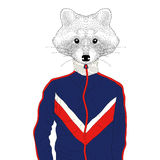 Vector anthropomorphic raccon boy in sport suit 90s. Hand drawn Stock Photography