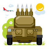 Vector Anti-aircraft missile system. Flat style colorful Cartoon illustration. Royalty Free Stock Photography