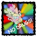 Vector anti drug poster with fuzzy devil face on psychedelic multicolored background Stock Photography