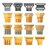 Vector antiguo del sistema del icono de la columna Arquitectura Roman Symbol Pilar antiguo Edificio de Grecia Cultura de Roma Grá stock de ilustración