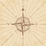 Vector Antique Grunge Compass Rose. An high detail illustration of an antique compass rose on a grunge paper, complete with navigation lines Royalty Free Stock Images