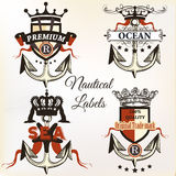 Vector antique nautical logotypes or label with anchor Royalty Free Stock Photo