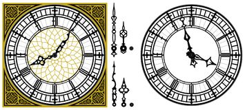 Vector antique old clock with square golden ornament roman royalty free illustration