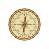 Vector antique retro style golden compass with wind rose. Isolated on white background. Stock Images