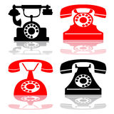 Vector antique telephone collection Royalty Free Stock Photo