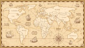 Free Vector Antique World Map With Countries Boundaries Stock Photography - 101080162