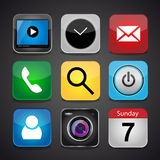 Vector app icon set on a black background Royalty Free Stock Photo