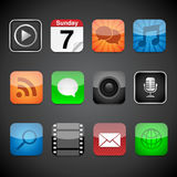 App Icons. Vector app icons on a black background.  Eps10 file with transparency Stock Image