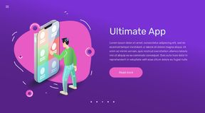 Vector app user design concept for banner or web site. Flat art with smartphone mobile application. royalty free stock photos