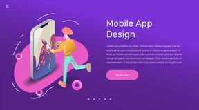 Vector app user illustration. Flat art with smartphone mobile application. royalty free stock photo