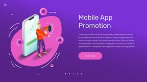 Vector app user illustration. Flat art with smartphone mobile application. stock photos