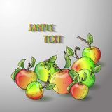 Vector apple banner. Design for sweets and pastries filled with apple, dessert menu, health care products. With place for text Stock Images