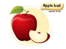 Vector Apple-Frucht, die auf Farbhintergrund, Illustrator 10 ENV lokalisiert wird stockbild