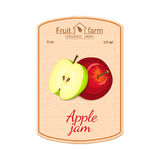 Vector Apple Jam Lable. Composition Of Green And Red Apples Fruits. Design Of A Sticker For A Jar With Apple Jam, Fruit Stock Photo
