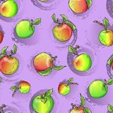 Vector apple pattern. Design for textile sweets and pastries filled with apple dessert menu health care products. With elements of grunge Royalty Free Stock Images