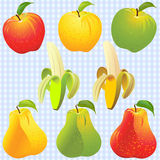 Vector Apple, pear, banana of different colors Royalty Free Stock Photography