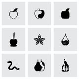 Vector Apple and pear icon set Royalty Free Stock Images