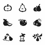 Vector Apple and pear icon set Royalty Free Stock Photography