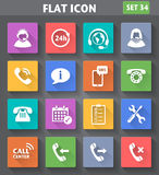 Vector application Call Center Service Icons set in flat style. With long shadows Stock Photos