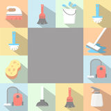 Vector application Cleaning Icons set in flat Royalty Free Stock Image
