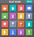 Vector application Drinks Icons set in flat style Royalty Free Stock Photos
