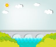 Vector applique. Landscape with bridge. Vector applique. Summer landscape with bridge Stock Photo