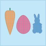 Vector applique rabbit, egg and carrot. Stock Photography