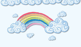 Vector applique. Rainbow and clouds Stock Photos