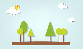 Vector applique. Trees under the clouds Royalty Free Stock Photo