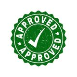 Approved Scratched Stamp with Tick. Vector Approved grunge stamp seal with tick inside. Green Approved mark with grunge surface. Round rubber stamp imprint royalty free illustration