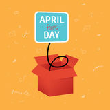 Vector April Fool's Day funny box with label on bright orange background with doodles stock illustration