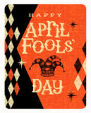 Vector April Fools Day card or banner design. Vintage April Fools Day card or banner design with texture background Stock Photography
