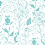 Vector aqua lineart flowers seamless pattern Stock Photos