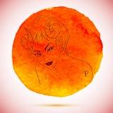 Vector a aquarela e a ilustração do esboço da mulher bonita no sinal do zodíaco do Áries com fundo da aquarela Imagens de Stock Royalty Free