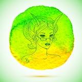 Vector a aquarela e a ilustração do esboço da mulher bonita no sinal do zodíaco do Capricórnio com fundo da aquarela Fotografia de Stock Royalty Free