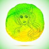 Vector a aquarela e a ilustração do esboço da mulher bonita no sinal do zodíaco do Touro com fundo da aquarela Fotos de Stock Royalty Free