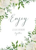 Vector Aquarellblumengruß, Hochzeit einladen, sparen das Datum Stockbild