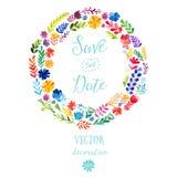 Vector Aquarellbunte Kreisblumenkränze mit Sommerblumen und zentrales weißes copyspace für Ihren Text Vektor handdrawn Stockfoto