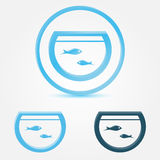 Vector aquarium (fish tank) icon. With a fish Royalty Free Stock Image