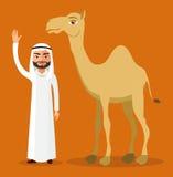 Vector - Arab bedouin man waving his hand and camel in desert dunes. Royalty Free Stock Photo