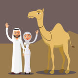 Vector - Arab couple, family, muslim people and camel, saudi cartoon man and woman waving her hand in desert dunes. Stock Images