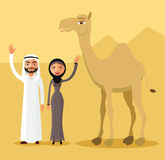 Vector - Arab man and woman in traditional national costume in desert dunes. Father, mother and camel. Stock Images