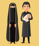 Vector - Arab parents with a newborn baby happy flat cartoon vector illustration. . Isolated on a white background. Stock Photos