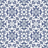 Blue Arabesque Pattern Stock Photography